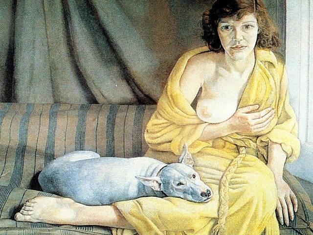 Mulher com cachorro Branco
